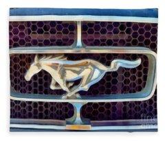 Painting Of Ford Mustang Badge Fleece Blanket