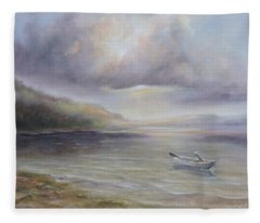 Beach By Sruce Run Lake In New Jersey At Sunrise With A Boat Fleece Blanket