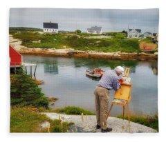 Painting Peggys Cove Fleece Blanket