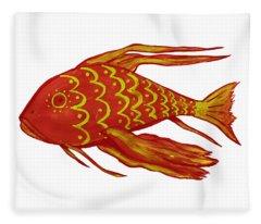 Painting Red Fish Fleece Blanket