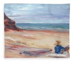 Painting The Coast - Scenic Landscape With Figure Fleece Blanket