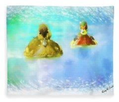 Pair Of Wood Ducks Swimming Toward Camera. Fleece Blanket