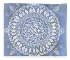 Paisley Moon Henna Mandala Fleece Blanket