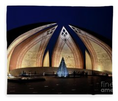 Pakistan Monument Illuminated At Night Islamabad Pakistan Fleece Blanket