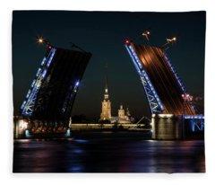 Palace Bridge At Night Fleece Blanket
