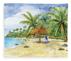 Palappa N Adirondack Chairs On A Caribbean Beach Fleece Blanket