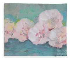 Pale Pink Peonies Fleece Blanket