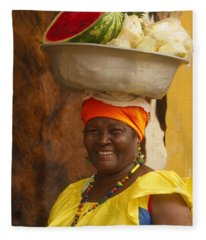 Palenquera In Cartagena Colombia Fleece Blanket