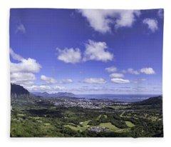Pali Lookout Panorama Fleece Blanket