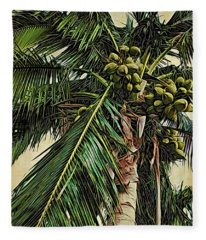 Palm Frond Fleece Blanket