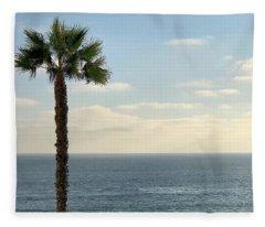 Palm Over The Sea Fleece Blanket