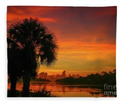 Palm Silhouette Sunrise Fleece Blanket