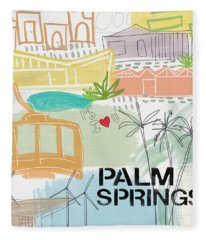 Palm Springs Cityscape- Art By Linda Woods Fleece Blanket