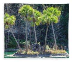 Palm Tree Island Fleece Blanket