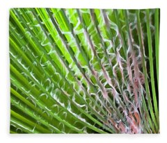 Palm Tree Tropical Leaf Fleece Blanket