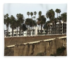 Palm Trees And Apartments Fleece Blanket
