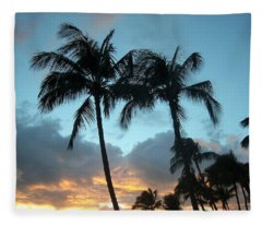 Palm Trees At Sunset Fleece Blanket
