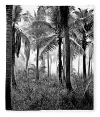 Palm Trees - Black And White Fleece Blanket