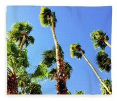 Palm Trees Looking Up Fleece Blanket