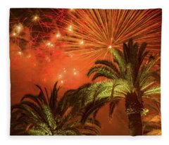 Palm Trees With Fireworks Fleece Blanket