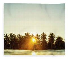 Palms And Rays Fleece Blanket