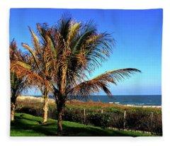 Palms Trees On Md Eastern Shore Fleece Blanket