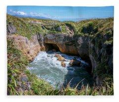 Pancake Rocks New Zealand Fleece Blanket