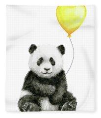 Panda Baby With Yellow Balloon Fleece Blanket