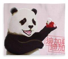 Panda Joy Pink Fleece Blanket