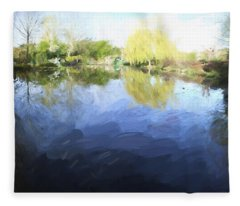 Panorama 2 Of Monets Garden In Giverny Fleece Blanket