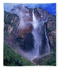 Panorama Angel Falls Canaima National Park Venezuela Fleece Blanket