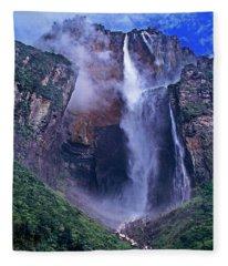Panorama Angel Falls Canaima National Park Venezuela Fleece Blanket