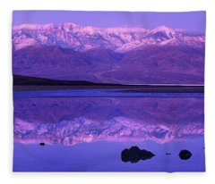 Panorama Badwater And The Panamint Range At Sunrise Death Valley Fleece Blanket