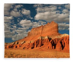 Panorama Clouds Over Wild Horse Butte Goblin Valley Utah Fleece Blanket