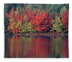 Panorama Fall Color Moccasin Lake Upper Peninsula Mi Fleece Blanket