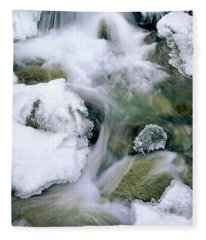 Panorama First Falls In Winter Eastern Sierras California Fleece Blanket