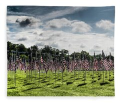 Panorama Of American Flags Honoring Personal Heroes, Bohrer Park Fleece Blanket