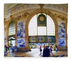Panorama Of The Sao Bento Train Station In Oporto Portugal Fleece Blanket