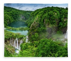 Panorama Of Turquoise Lakes And Waterfalls - A Dramatic View, Plitivice Lakes National Park Croatia Fleece Blanket