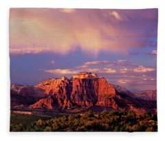 Panorama West Temple At Sunset Zion Natonal Park Fleece Blanket