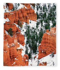 Panorama Winter Storm Blankets Thors Hammer Bryce Canyon Utah Fleece Blanket