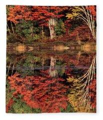 Panoramic Fall Color Thorton Lake Upper Penninsula Michigan Fleece Blanket
