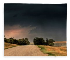 Panoramic Lightning Storm In The Prairie Fleece Blanket