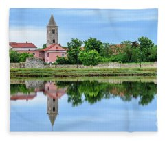 Panoramic Reflections Of Nin, Croatia Fleece Blanket