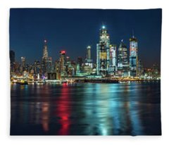 Panoramic Skyline-manhattan Fleece Blanket