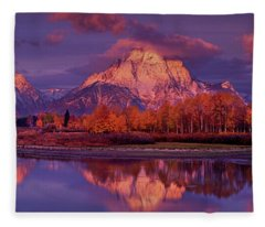 Panoramic Sunrise Oxbow Bend Grand Tetons National Park Fleece Blanket
