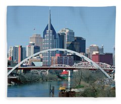 Panoramic View Of Bridge Fleece Blanket