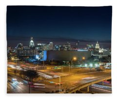 Panoramic View Of Busy Austin Texas Downtown Fleece Blanket