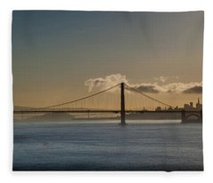 Panoramic View Of Downtown San Francisco Behind The Golden Gate  Fleece Blanket