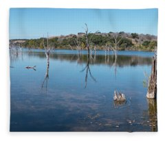 Panoramic View Of Large Lake With Grass On The Shore Fleece Blanket